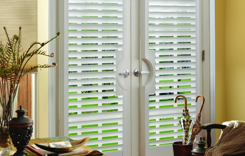 Plantation shutters are perfect for french doors company for Double hung french patio doors